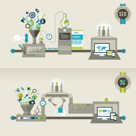 ウェブのバナーや印刷物の平らな設計概念レスポンシブ web デザインと SEO の概念のセット