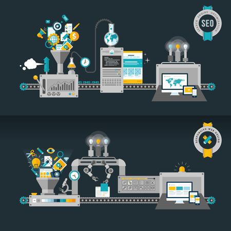 フラットなデザインの概念、ウェブ開発用機およびウェブのバナーや印刷物のための SEO の概念  イラスト・ベクター素材