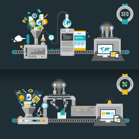 seo: Platte design concepten, machines voor web development en SEO concepten voor web banners en drukwerk Stock Illustratie