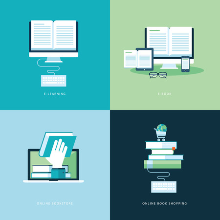 Set of flat design concept icons for web and mobile phone services and apps  Icons for online learning, online book, online bookstore, online book shopping      Illustration