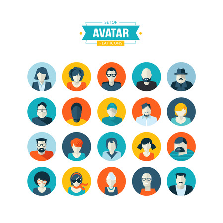 Set of avatar flat design icons Çizim