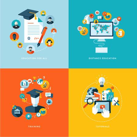 플랫: 모두, 원격 교육, 훈련 및 튜토리얼에 대한 교육 교육 아이콘 플랫 디자인 개념 아이콘을 설정합니다