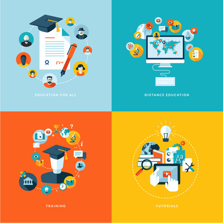 Set of flat design concept icons for education  Icons for education for all, distance education, training and tutorials