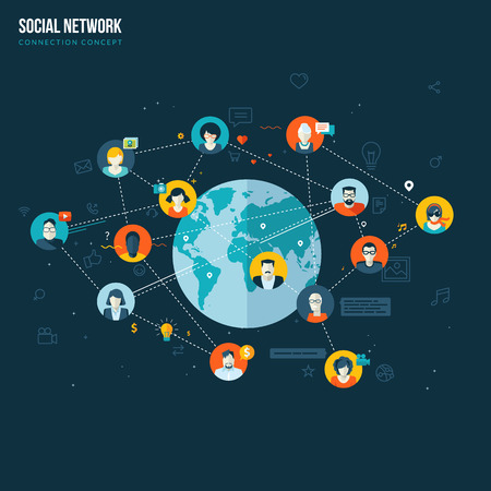 Flat design concept for social network  Concepts for web banners and printed materials  Ilustração