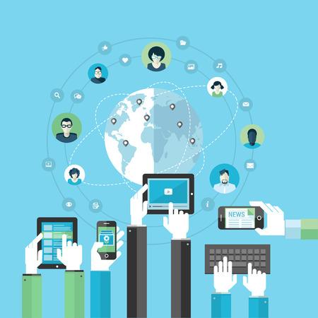 Flat design concept voor sociale netwerk door het gebruik van moderne elektronische apparaten Concepts voor web banners en drukwerk