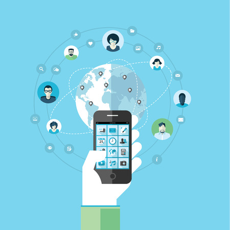웹 배너 및 인쇄 재료에 대한 현대의 스마트 휴대 전화 서비스와 응용 프로그램의 개념에 대한 평면 설계 개념