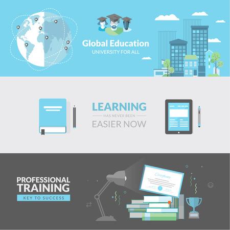 educating: Concepto de dise�o Piso en conceptos de educaci�n para los banners web y materiales impresos Vectores
