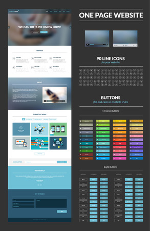 button: One page website design template
