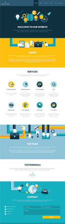 One page website design template in flat design style     Illustration