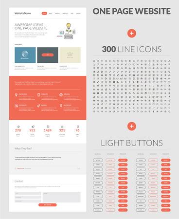 single line: One page website design template   Illustration
