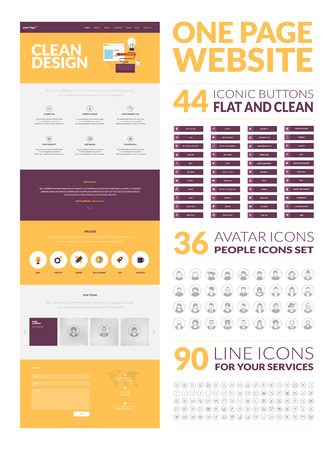website button: One page website design template  All in one set for website design that includes one page website templates in flat design style, set of 90 line icons for your services, set of 36 avatar iconic and set of 44 iconic buttons
