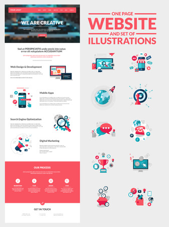 One page website design template  All in one set for website design that includes one page website templates and set of flat design concept illustrations for banners and web content      Vector