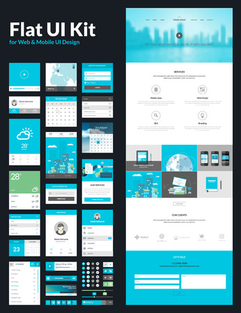 One page website design template  All in one set for website design that includes one page website templates, flat UI kit for web and mobile design, and flat design concept illustrations      Vector