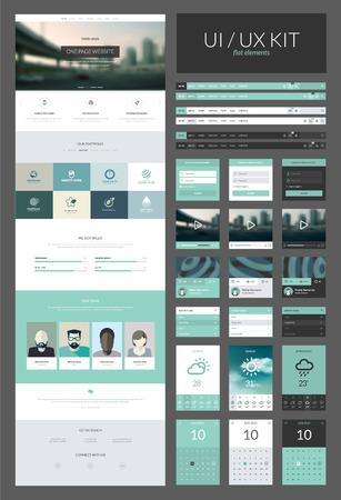 Een pagina website design template Alles in een set voor website-ontwerp dat een pagina website templates en ux ui kit voor website-ontwerp omvat Stock Illustratie