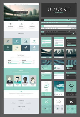 One page website design template  All in one set for website design that includes one page website templates and ux ui kit for website design      Vector