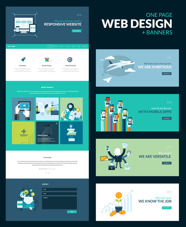 kit design: One page website design template  All in one set for website design that includes one page website template for responsive website and set of flat design concept illustrations for banners