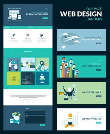 Una página web plantilla de diseño todo en uno para diseño web que incluye una plantilla de página web para el sitio web de respuesta y un conjunto de ilustraciones de concepto diseño plano para banners Foto de archivo - 29453551