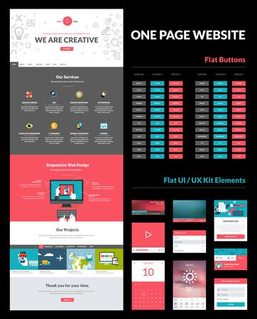 Een pagina website design template Alles in een set voor website-ontwerp dat een pagina website template, set van platte toetsen, ux ui kit voor website-ontwerp, en platte design concept illustraties bevat Stock Illustratie