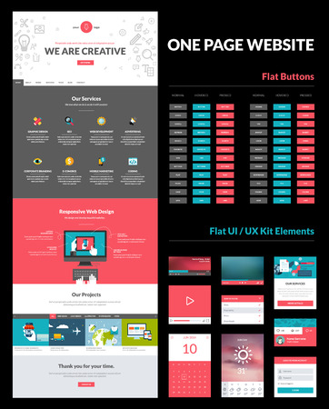 website: One page website design template  All in one set for website design that includes one page website template, set of flat buttons, ux ui kit for website design, and flat design concept illustrations      Illustration