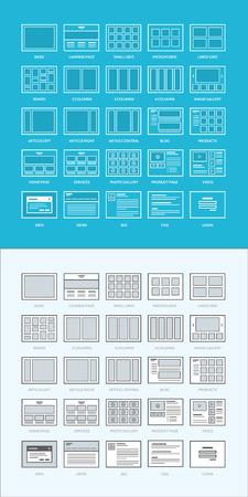 ウェブサイトのワイヤー フレームのセット  イラスト・ベクター素材