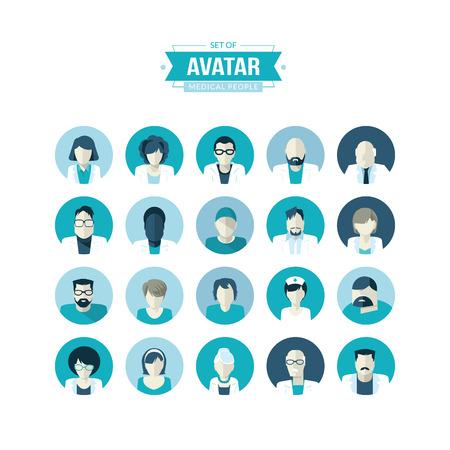 chirurgo: Set di piatti di design avatar icone per medicina Vettoriali