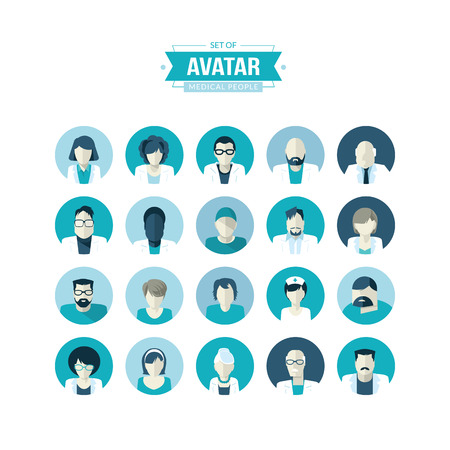 man profile: Set of flat design avatar icons for medicine