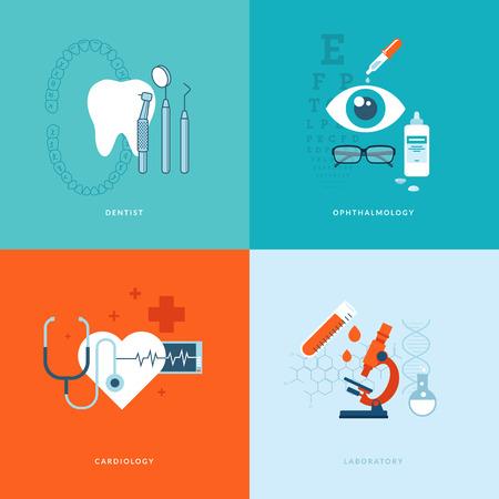 dentista: Conjunto de iconos de concepto dise�o plano de los servicios web y de telefon�a m�vil y de iconos de aplicaciones para el dentista, oftalmolog�a, cardiolog�a y laboratorio