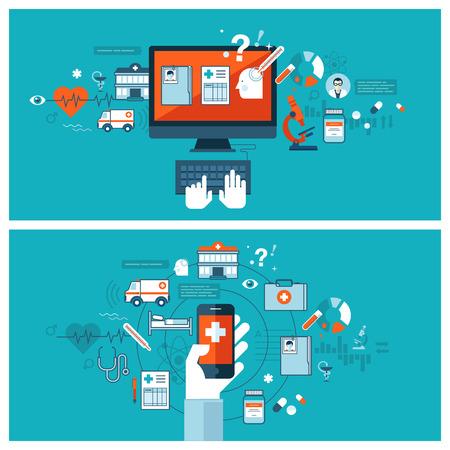 tecnologia: Diagnosi medica online e di trattamento Appartamento concetti di design per il web banner e materiali stampati