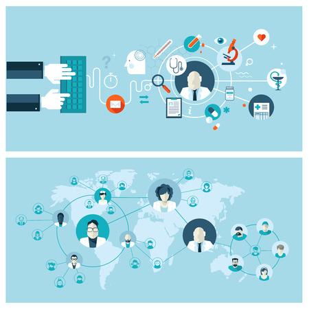 lekarz: Zestaw ilustracji wektorowych projektowania płaskich koncepcji dla internetowych usług medycznych i obsługę koncepcje banerów internetowych i drukowanych materiałów Ilustracja