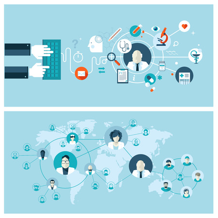 Zestaw ilustracji wektorowych projektowania płaskich koncepcji dla internetowych usług medycznych i obsługę koncepcje banerów internetowych i drukowanych materiałów