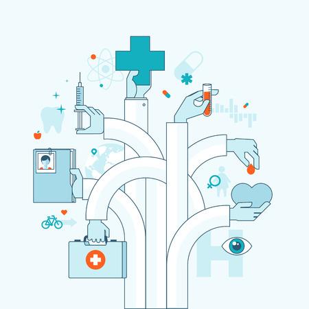 simbolo medicina: Ilustración vectorial concepto de diseño plano sobre conceptos temáticos medicina para la bandera web y materiales impresos