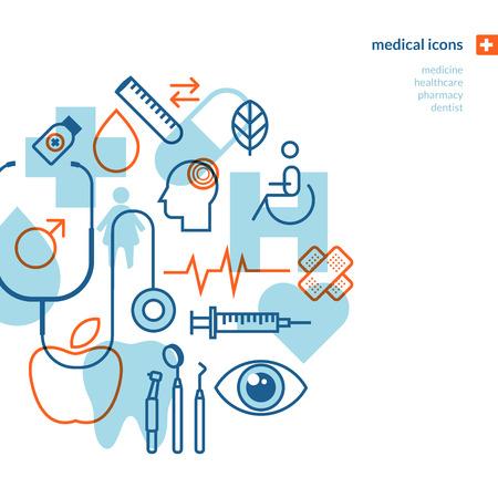 medicina: Conjunto de iconos de m�dicos Iconos para la medicina, la asistencia sanitaria, farmacia, dentista Vectores
