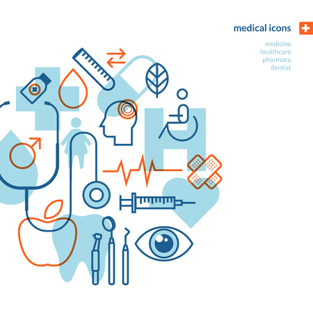 Set of medical icons  Icons for medicine, healthcare, pharmacy, dentist