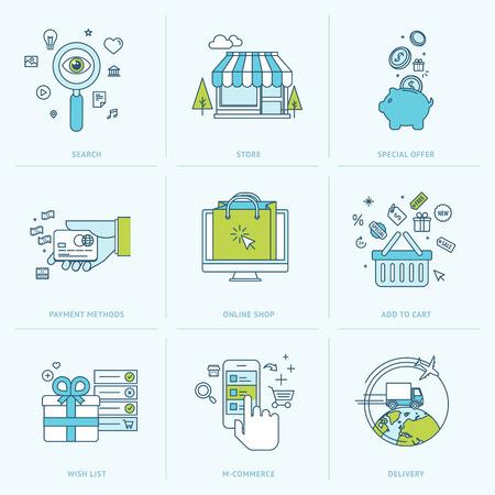 Conjunto de iconos de la línea plana para iconos de compras en línea para el comercio móvil, comercio electrónico, tienda online, medios de pago, entrega, comercialización del Internet Foto de archivo - 30143323