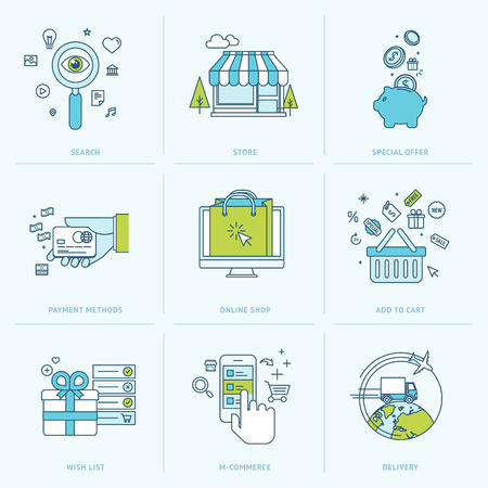 M-コマース、電子商取引、オンライン ショップ、支払方法、配信、オンライン ショッピングのアイコンのための平らな線アイコンのセットのインタ