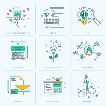 kódování: Sada plochých řádku ikon pro vývoj webových aplikací ikony pro vývoj aplikací, webové stránky kódování a programování, SEO, web design, tvůrčí proces, sociální média, branding, marketing