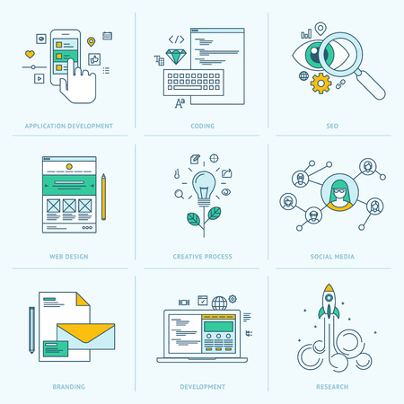 seo concept: Set of flat line icons for web development  Icons for application development, web page coding and programming, seo, web design, creative process, social media, branding, marketing