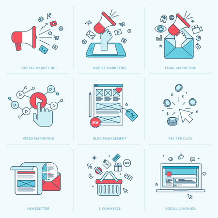 Set of flat line icons for marketing  Icons for digital marketing, mobile marketing, email marketing, video marketing, internet marketing, blog management, pay per click, e-commerce, newsletter, social media, social campaign  Vector