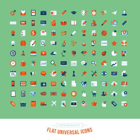 Set of flat design universal icons  Icons for business, marketing, education, technology, seo, media, communication, finance, shopping, e-commerce, nature, web and app development, design, sport