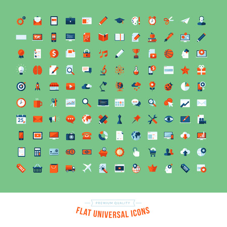 Set of flat design universal icons  Icons for business, marketing, education, technology, seo, media, communication, finance, shopping, e-commerce, nature, web and app development, design, sport