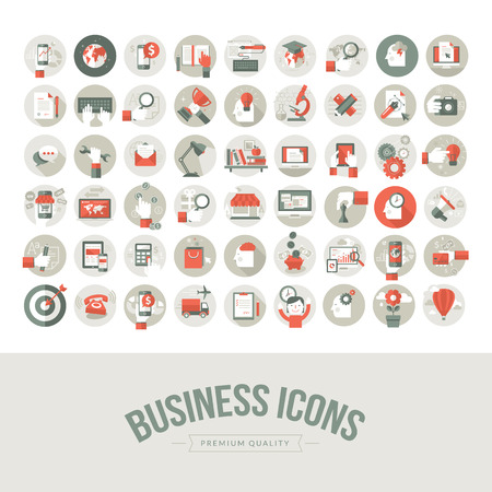 Set of flat design business icons  Icons for business, marketing, education, technology, seo, media, communication, finance, online shopping, e-commerce, creative idea, web and app development, design, social media Banco de Imagens - 30143366
