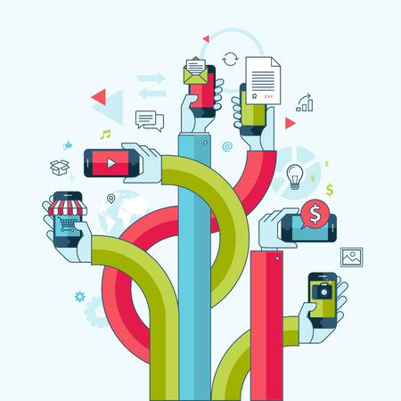Vlakke lijn design concept voor mobiele telefoon apps en diensten Concept voor web-banners en gedrukte materialen Stock Illustratie