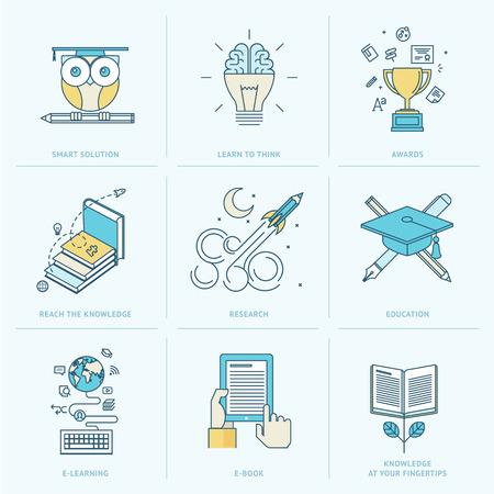 aprendizaje: Conjunto de iconos de líneas planas de iconos de la educación para el aprendizaje en línea, libro en línea, soluciones para la educación, la investigación, el conocimiento