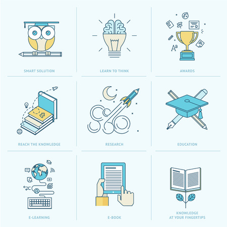 Set of flat line icons for education  Icons for online learning, online book, education solutions, research, knowledge