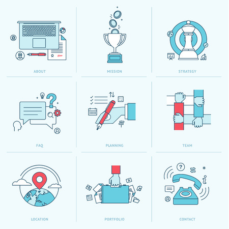 organization design: Set of flat line icons for business  Icons for company strategy, planning, teamwork, portfolio, organization, management, marketing, contact information