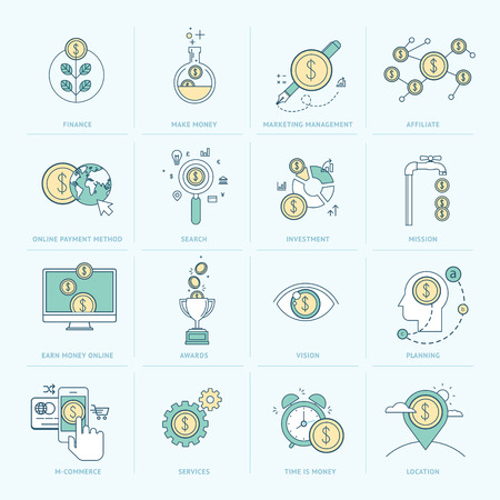 investment vision: Set of flat line icons for finance  Icons for e-commerce, marketing management, affiliate, investment, online payment, m-commerce, company organization, seo