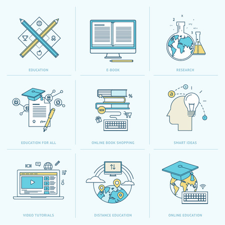 e learn: Set of flat line icons for online education
