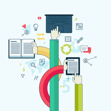 教育: ウェブのバナーや印刷物のための教育の概念のための平らな線デザイン コンセプト