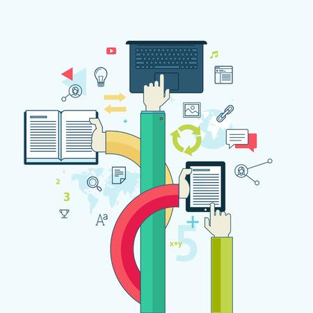 教育: 扁線設計理念,為教育概念的網頁橫幅和印刷材料
