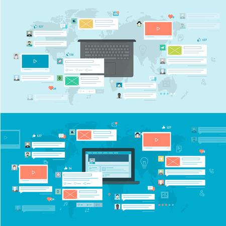 Set van platte design concepten voor sociaal netwerk, sociale media, online communicatie Concepten voor web-banners en gedrukte materialen, voor het web en mobiele diensten en apps Stock Illustratie